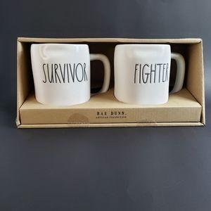 RAE DUNN ARTISAN COLLECTION SET SURVIVOR & FIGHTER